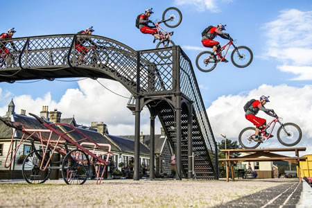 Photograph of Danny MacAskill at Boat of Garten station